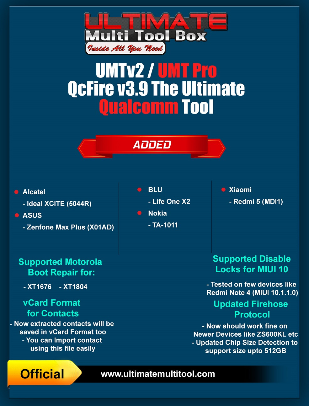 [04-03-19] UMTv2 / UMTPro - QcFire v3.9 - ASUS, Moto Boot Repair and more...